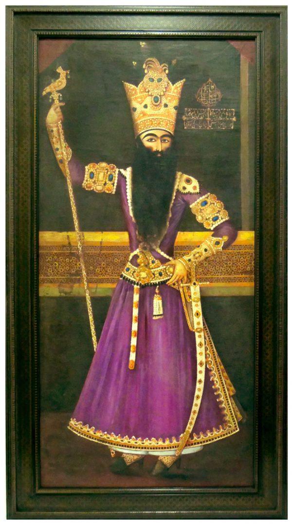 19th Century Portrait Painting of Fath Ali Shah Qajar